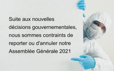 Annulation/report de l'Assemblée Générale du 17 avril 2021