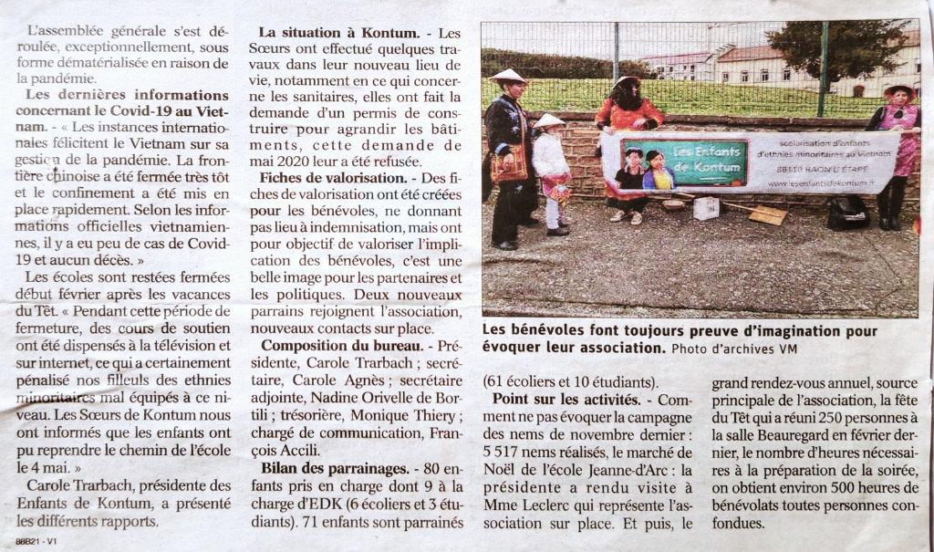 article de Vosges Matin 09 juin 2020