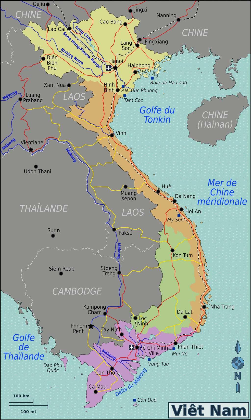 carte situant Kontum à l'intérieur du Vietnam