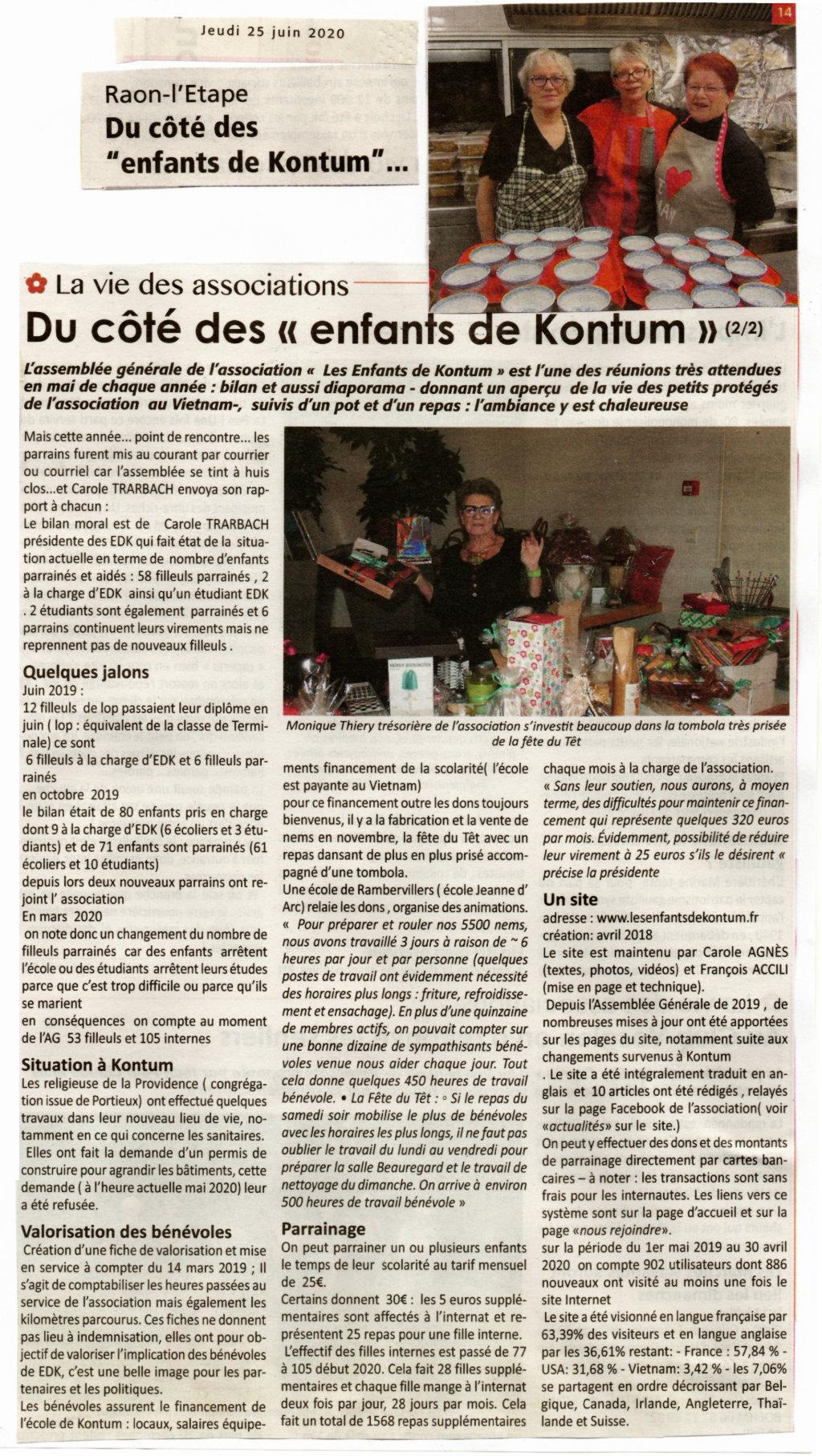 Article de l'Echo des Vosges du 25 juin 2020