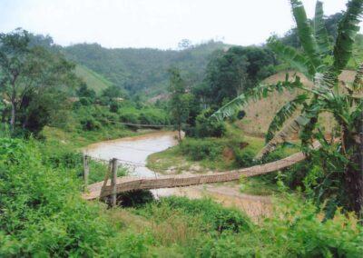 Un pont pièton en bois et bambou